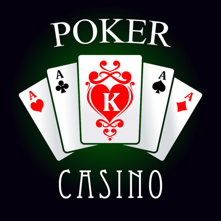 king of hearts: Poker casino game symbol of four of a kind hand with four aces and king of hearts cards, decorated by swirling red ornament. For gaming industry design