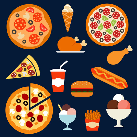 Flat fast food menu icons of pizza with different toppings, takeaway box of french fries, hamburger, hot dog, fried chicken, ice cream cone and sundae desserts, soda paper cap