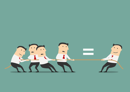 tug war: One qualified businessman or leader is equal a group of ordinary businessmen, for human resources or leadership concept design. Cartoon style