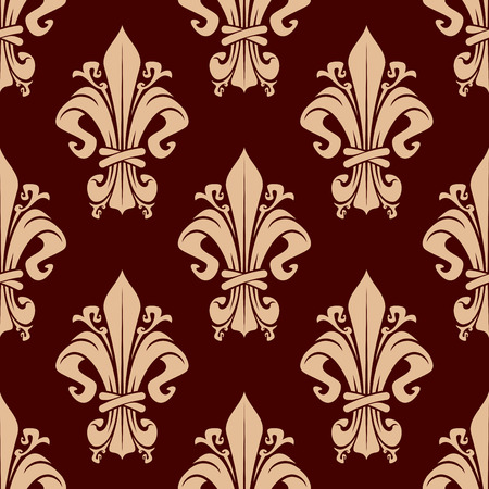 dise�o textil: Elegant fleur-de-lis floral pattern with curly vintage elements on brown background, for luxury interior or textile design Vectores
