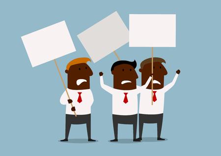 hombres negros: Dibujos animados africanos hombres de negocios norteamericanos protestan con los carteles de demostración planteadas. Por concepto de negocio de piquete, huelga o protesta temas