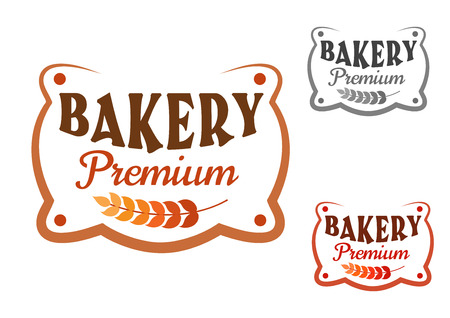 Premium bakery figured retro signboard with wheat ear with variations
