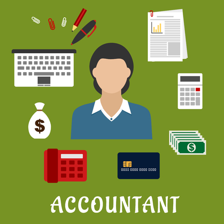 woman credit card: Accountant profession flat icons with elegant woman, encircled by laptop, bank credit card, money bag, dollar bills, calculator, financial report, telephone and stationery