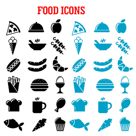 meat soup: Restaurant and fast food flat icons with pizza, sausages, burger, coffee cup, cake, chicken, egg, ice cream, hot dog, french fries, apple, fish, carrot, croissant, barbecue, soup, chef hat and tray Illustration