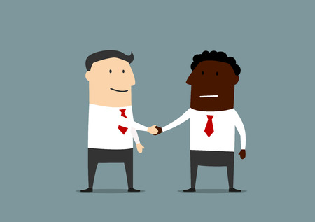 Partnership handshake of african american and caucasian businessmen, for business partnership or agreement concept