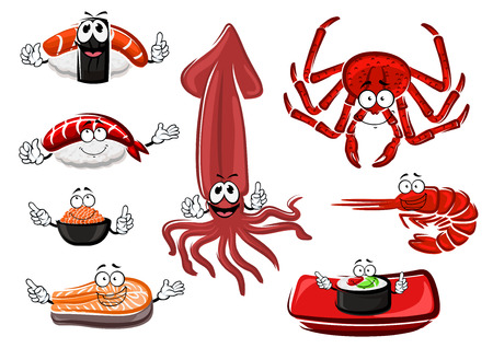 caviar: Cartoon fresh sushi rolls and sashimi, crab, salmon steak, shrimp, red caviar and squid characters for seafood theme design