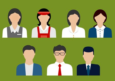 sales manager: Businessman, banker, finance and sales manager, store cashier, bank manager and shop assistant flat avatars or icons
