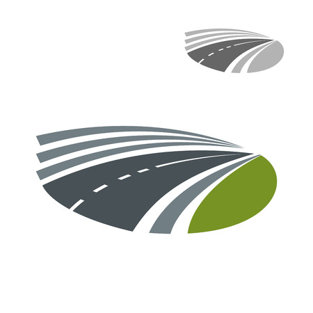 green road: Modern speed highway road pass icon or symbol among green rural fields. For transportation or travel theme design