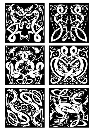 vikingo: Patrones célticos del nudo medievales de dragones con alas y colas entrelazadas sobre fondo negro para el diseño de tatuaje tribal