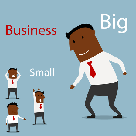 small business concept: Big businessman giving hand for handshake to panicked small black businessmen. Partnership concept between big and small businesses