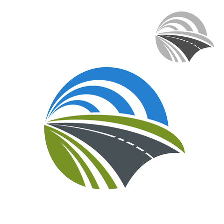 Speedy road icon with green roadsides disappearing to a vanishing point within a circle of blue sky, for travel or transportation themes design