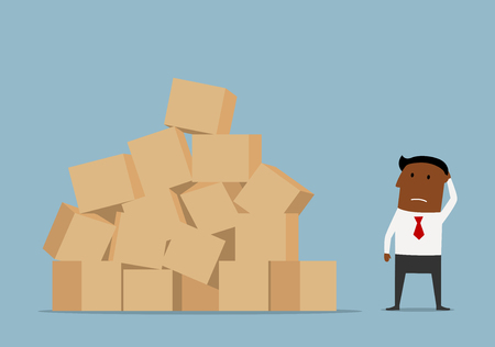 business solution: Confused cartoon african american businessman looking at large pile of cardboard boxes and worrying about problems of delivery
