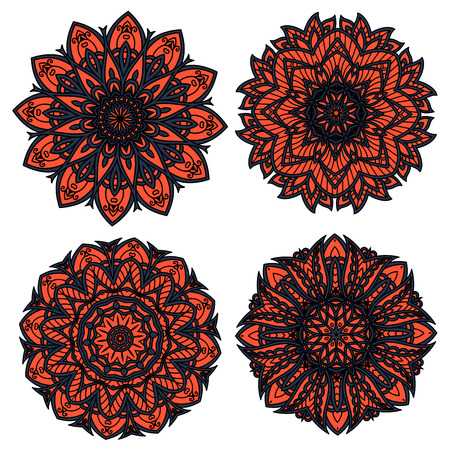 design interior: Orange and black circular floral patterns, composed with abstract flower elements and dark openwork ornament, for interior accessories or textile design