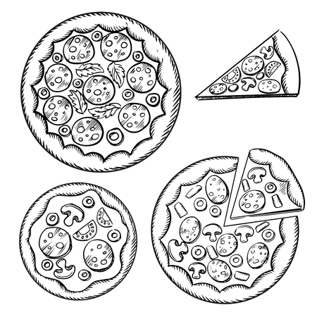 toppings: Whole and sliced italian pizza sketches with different toppings, such as cheese, pepperoni, salami, mushrooms, tomatoes, olives and parsley