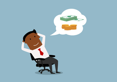 style wealth: Relaxing african american businessman dreaming about money and wealth in office. Cartoon style Illustration