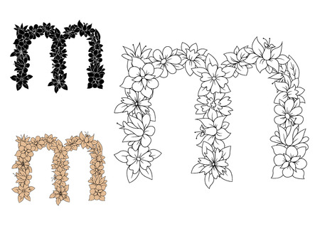 colorless: Decorative floral font lowercase letter m, with outline colorless flowers and leaves, for monogram or greeting card design