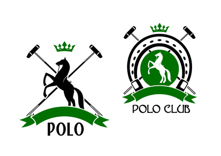 equestrian sport: Polo club sporting emblems with rearing up horses, crossed mallets and horseshoe on the background, decorated by crowns and ribbon banners