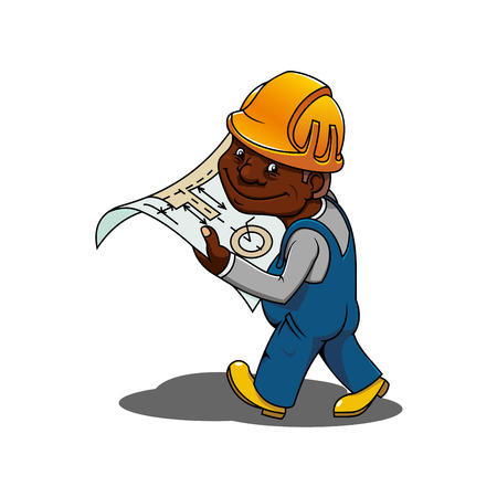 building inspector: African american construction engineer or builder cartoon character in yellow hard hat and blue overalls holding blueprint of building project Illustration