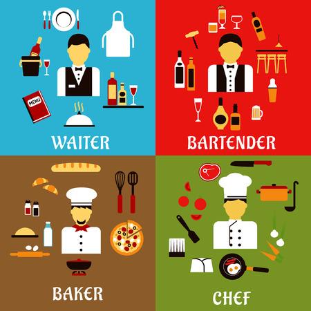 panadero: Cocinero, panadero, camarero y barman profesiones iconos planos con los trabajadores de la industria de servicios de alimentos en uniforme profesional, con comida y bebida símbolos