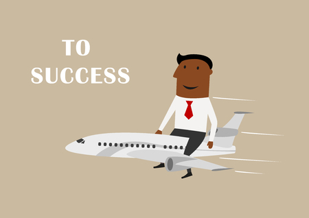 goal achievement: Excited african american businessman flying on airplane to success, for leadership or goal achievement design. Cartoon flat character