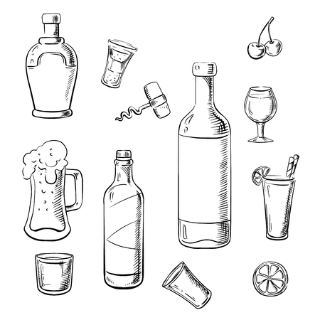 whisky bottle: Wine bottles, whiskey, liquor, beer and cocktails with lemons, cherries and corkscrew. Sketch icons for food and drinks design
