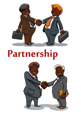 manos estrechadas: Apretones de manos de negocios de dibujos animados feliz sonriendo empresarios afroamericanos en trajes grises con maletines y carpetas de documentos, de reuni�n o de dise�o concepto de asociaci�n