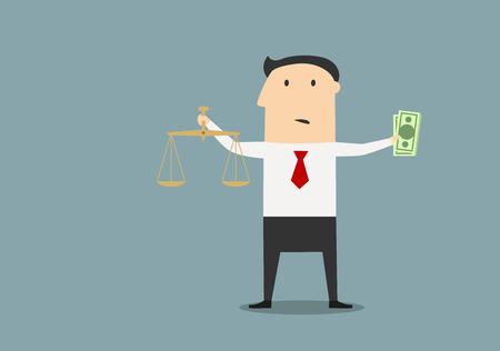 gerechtigkeit: Cartoon verwirrt Geschäftsmann Wahl zwischen Gerechtigkeit und bestechen Geld mit Dollar ans Skalen in der Hand, für Korruption Konzept Design