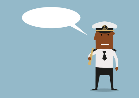 ship captain: Ship captain in white uniform and cap holding spyglass in hands with blank speech bubble above head. Cartoon style