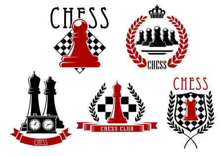 Chess sporting club emblems and logo with chessboards, clock, queen, rook and pawns pieces, supplemented by medieval shield, laurel wreaths, ribbon banners and crown
