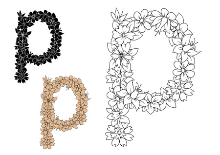 sappy: Retro floral small letter p decorated by flowers, buds and sappy foliage in outline colorless, black and brown variations