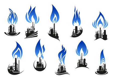 oil and gas industry: Industrial chemical plant icons with chimneys, pipes and tank storages black silhouettes, supplemented by curved blue flames. For natural gas and oil industry themes design
