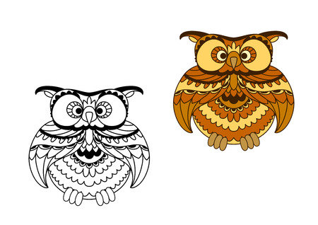 ciuffo: Cute brown owl bird cartoon character with striped plumage in retro style with colorless outline variant, for education or childish design Vettoriali