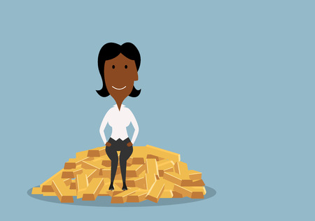 millionaire: Cartoon african american businesswoman  with joyful smile sitting on heap of gold bars, for wealth and success theme design. Flat style