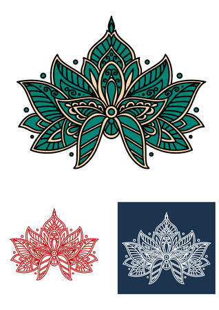 adorned: Emerald persian flower with curved pointed petals, adorned by paisley elements, for lace embellishment or interior accessories design Illustration