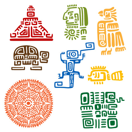 Oude Maya's en Azteken totems of religieuze borden met kleurrijke symbolen van de zon, vogel, slang, schildpad, vissen, hagedis, piramide en krijger. Voor tatoeage of t-shirt design