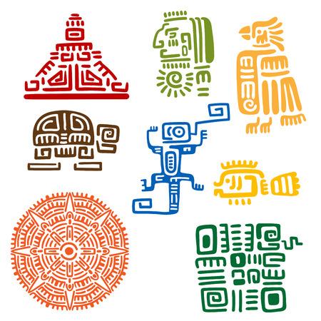 cultura maya: Tótems mayas y aztecas antiguos o signos religiosos con símbolos coloridos de sol, aves, serpientes, tortugas, peces, lagartos, pirámide y guerrero. Para tatuaje o diseño de la camiseta Vectores