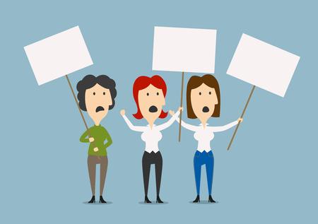 conflictos sociales: Angry empresarias que protestan en el piquete con pancartas en blanco, para el diseño de huelga y de protesta temas. imagen plana de la historieta Vectores