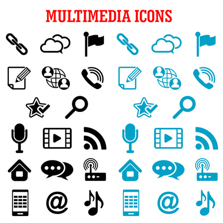 email icons: Multimedia and communication flat icons with smartphone, microphone, music, video player, email, link, search, chat, call, cloud storage, favorite star, flag pin, home, notebook, rss feed, wi-fi router Illustration