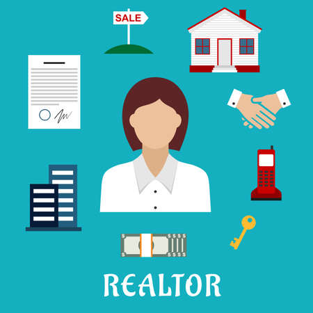 rent: Realtor profession flat icons with woman real estate agent, key, home, apartment house, sale sign, contract, money, handshake and telephone