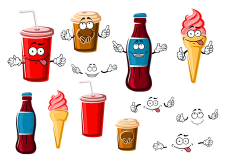 soda: Happy cartoon coffee and soda beverages in takeaway paper cups, strawberry ice cream cone and bottle of soft drink, for fast food or dessert design