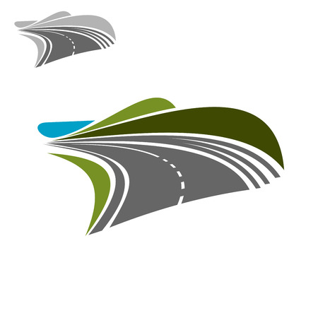 green road: Modern asphalt road highway pass among green hills and turning on the horisont, for travel theme or transportation design Illustration