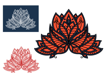 red indian: Bright red indian paisley flower with pointed petals, decorated by gray oriental ornament, for interior accessories or textile design Illustration