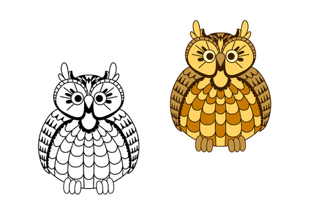mottled: Old wise cartoon eagle owl bird with mottled yellow and orange rounded body and brown wings Illustration