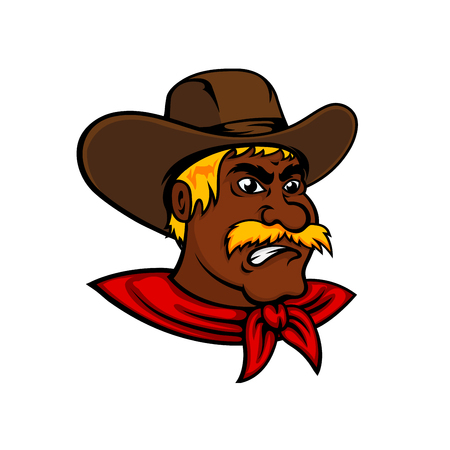 cowboy cartoon: Brave cartoon african american cowboy character with lush moustache and brown leather hat, for wild west adventure or farming themes design