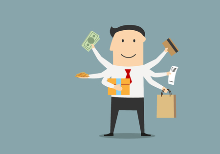 money in the bank: Happy businessman with many hands carrying money bills, bank credit card, golden coins, paper shopping bag, receipt and gift box after shopping. Cartoon flat style Illustration