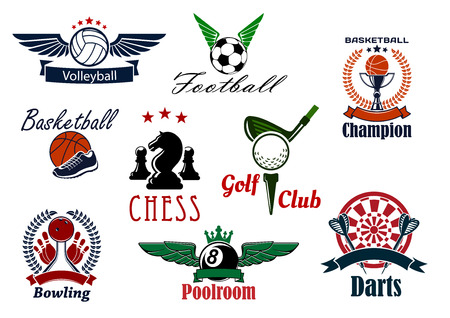 team game: Sports game club or team emblems with volleyball, football, soccer, basketball, golf, chess, poolroom, darts and bowling with sport items and heraldic elements