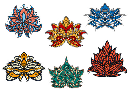 Bright colorful indian stylized paisley flowers, adorned by ethnic ornaments with flourishes, wavy lines and tendrils, for fabric or carpet pattern design