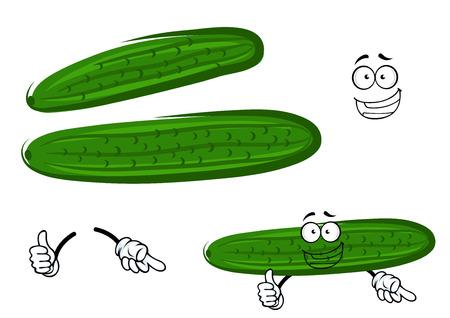 pepino caricatura: Personaje de dibujos animados de verduras jugosa pepino verde brillante crujiente que da el pulgar encima de la muestra, para la agricultura temas de cosecha diseño