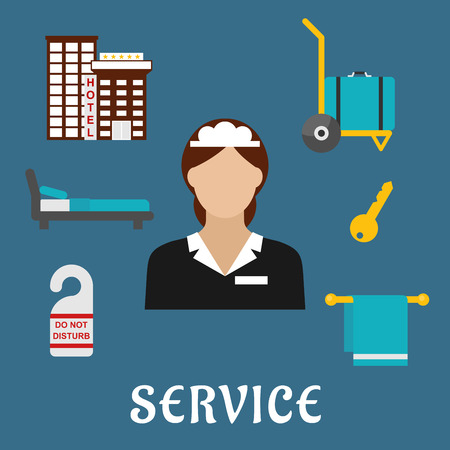 comfortable: Hotel services flat icons with maid in elegant uniform, surrounded by hotel building, luggage, key, do not disturb door tag, comfortable bed and towel Illustration