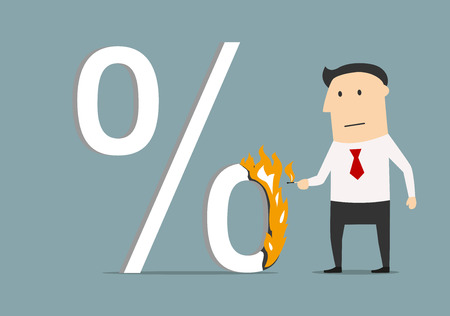 tax: Cartoon businessman burning up percent symbol with match, for finance, banking or shopping design. Flat style